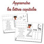 Fiches d'apprentissage des lettres majuscules