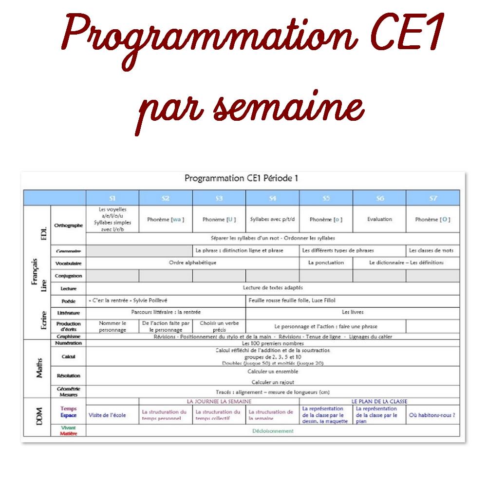 Programmation Ce1 Par Semaine